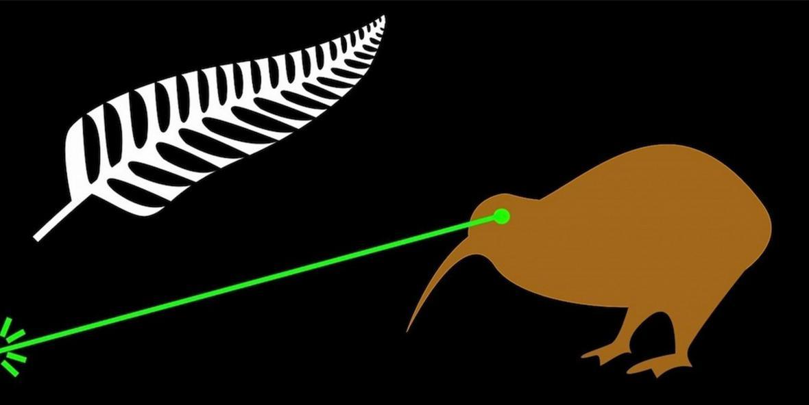 Kiwi s laserovým paprskem (autor návrhu: James Gray)