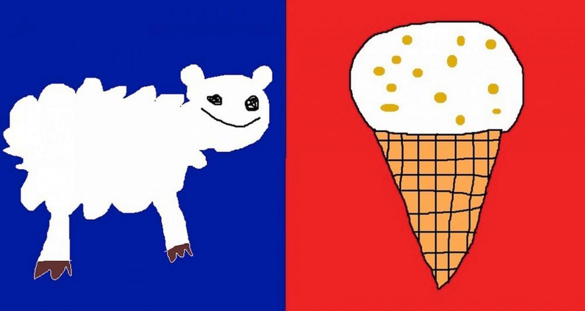 Ovce a zmrzlina jako symboly Nového Zélandu (autor návrhu: Jesse Gibbs)