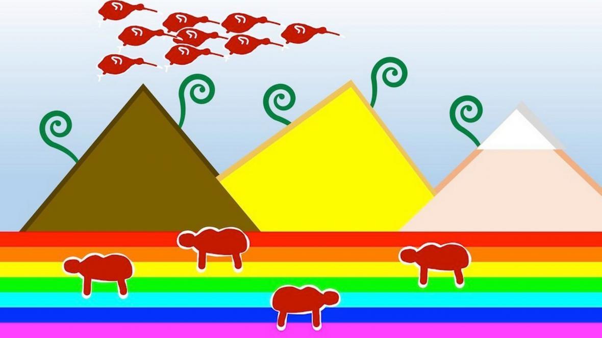 Návrh symbolizující cestu Nového Zélandu od kolonialismu ke svobodě a multikulturalismu (autor návrhu: Logan Wu)