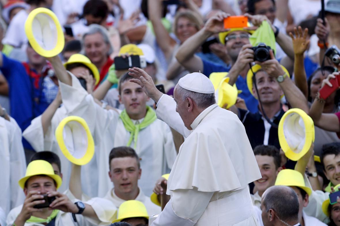 František během setkání s ministranty