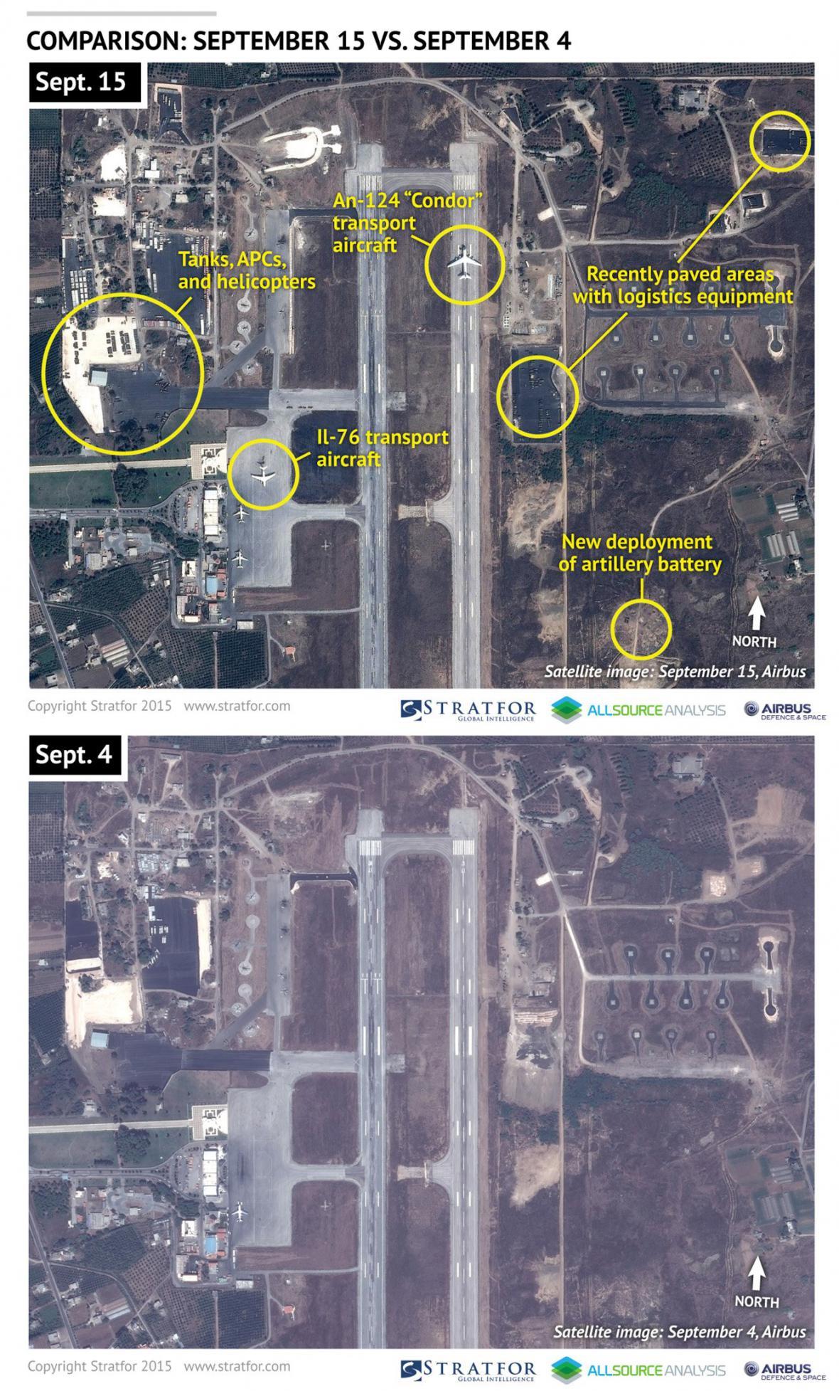 Satelitní snímky letecké základny v Latakíji
