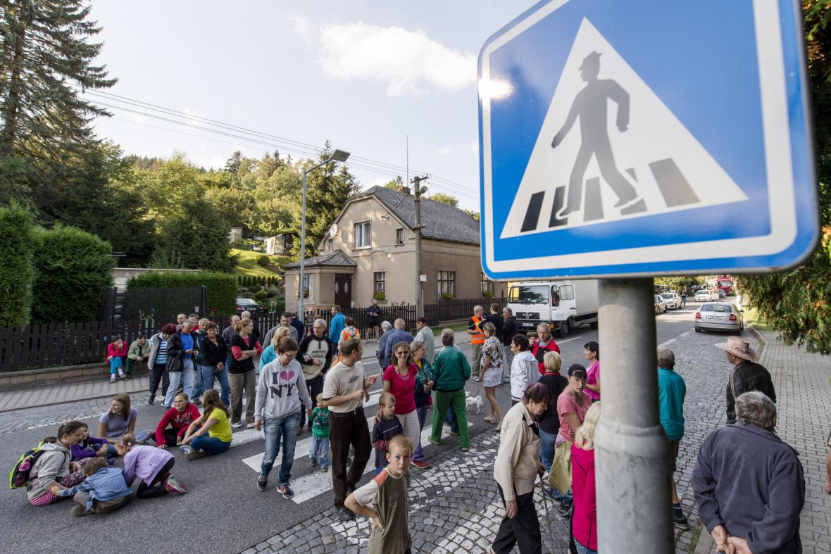 Blokáda silnice v Náchodě