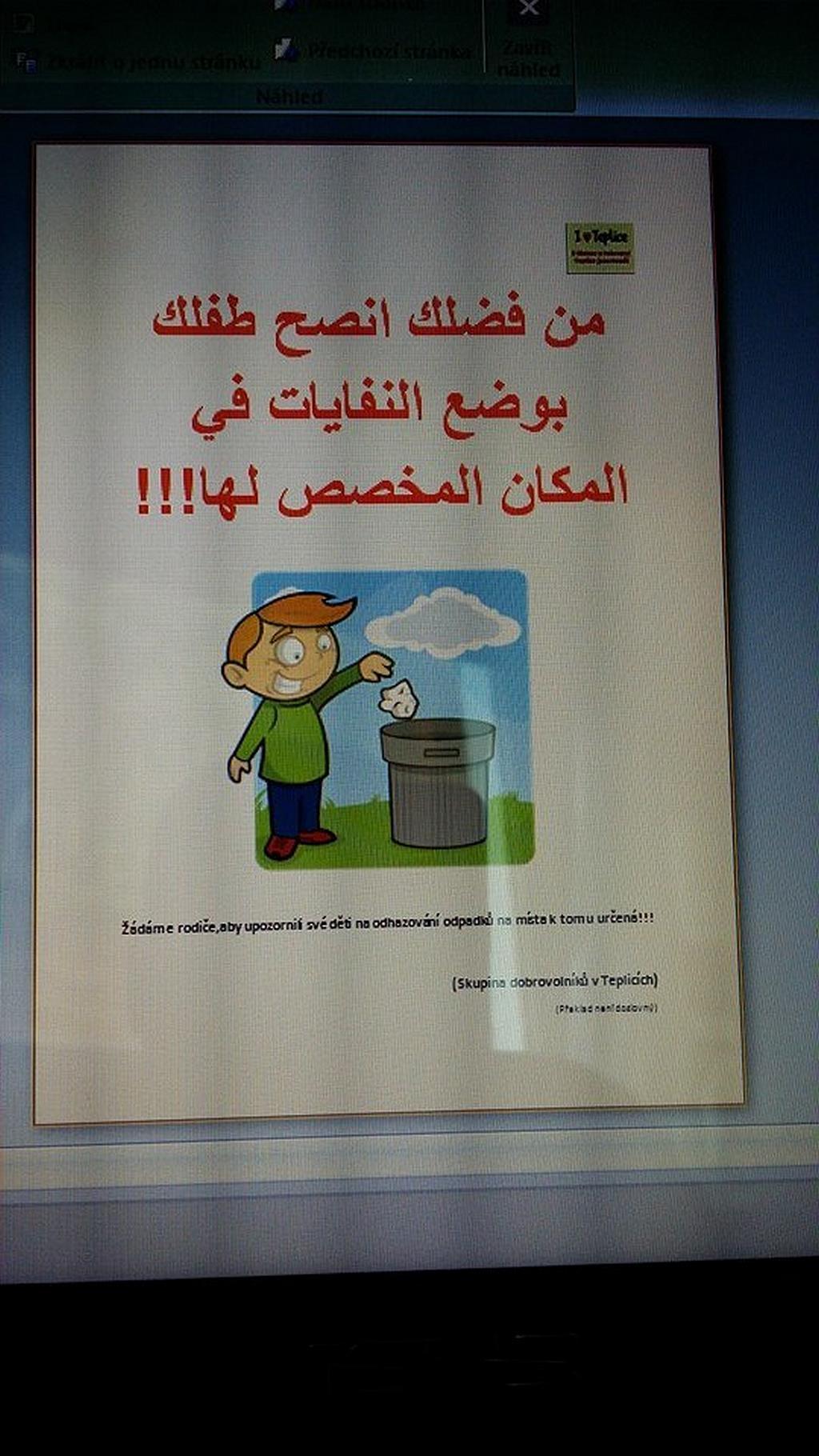 Úklid Teplic a vyvěšování letáků v arabštině