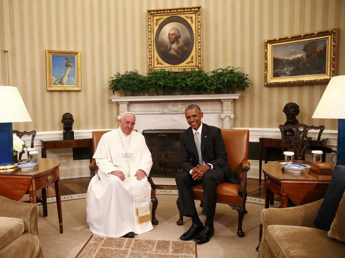 Obama přijal Františka v Oválné pracovně