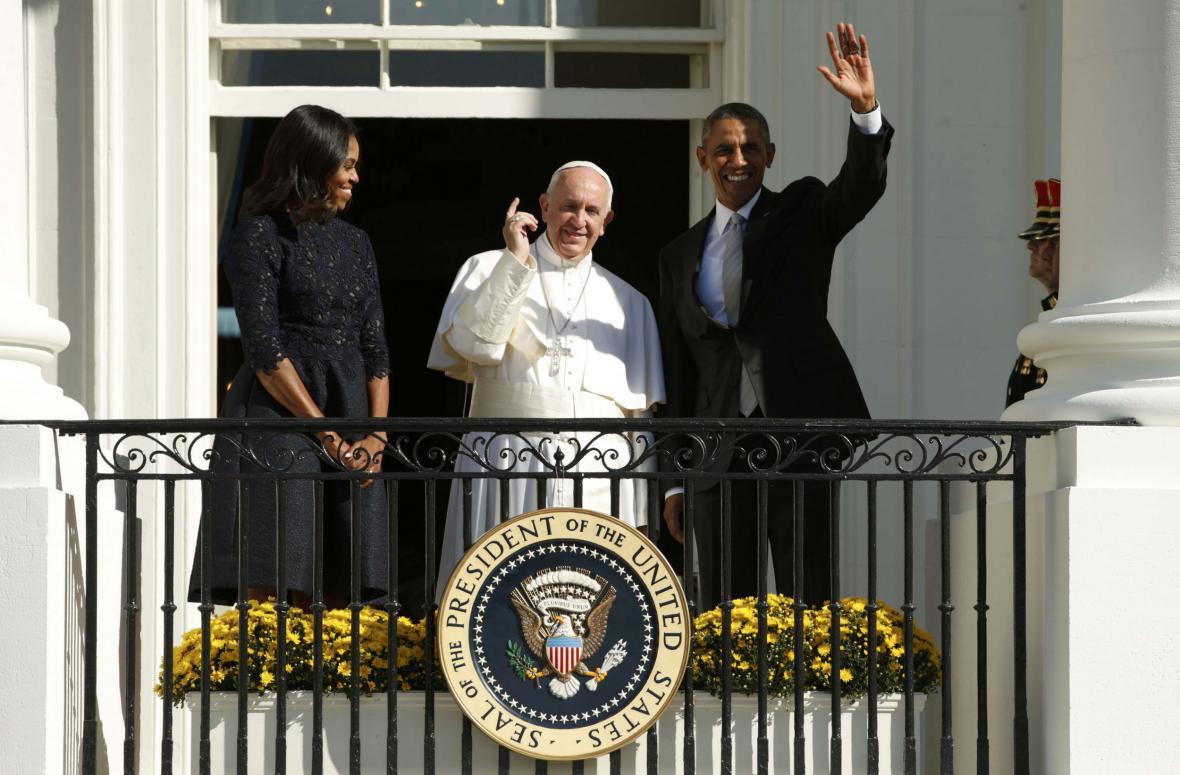 František na oficiální návštěvě Bílého domu