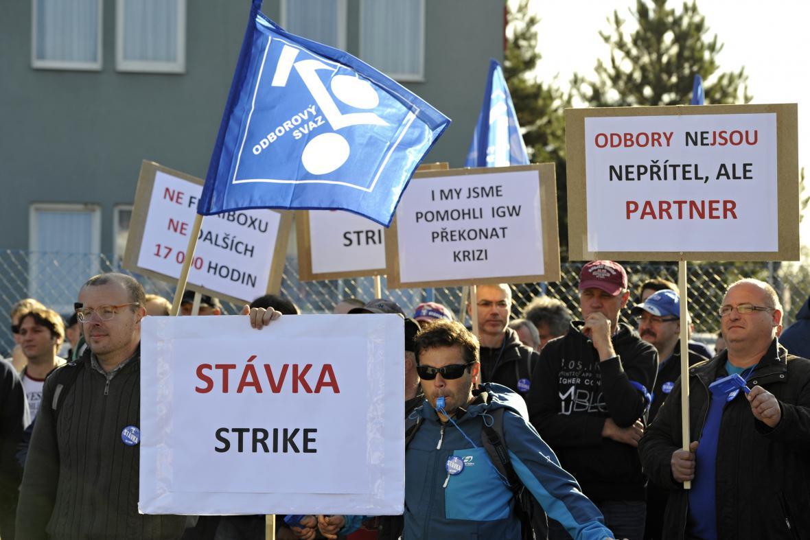 Stávka zaměstnanců firmy IG Watteeuw v Brně