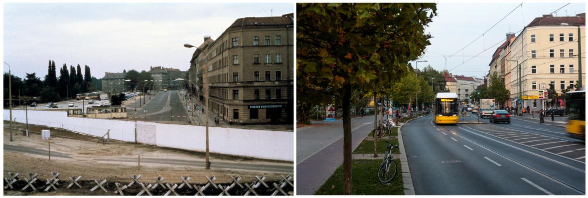 Hranice mezi Z8padním a Východním Berlínem před rokem 1990 a dnes