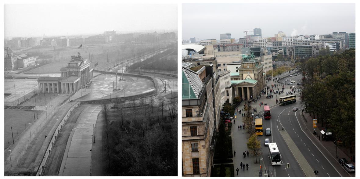 Hranice mezi Západním a Východním Berlínem před rokem 1990 a dnes