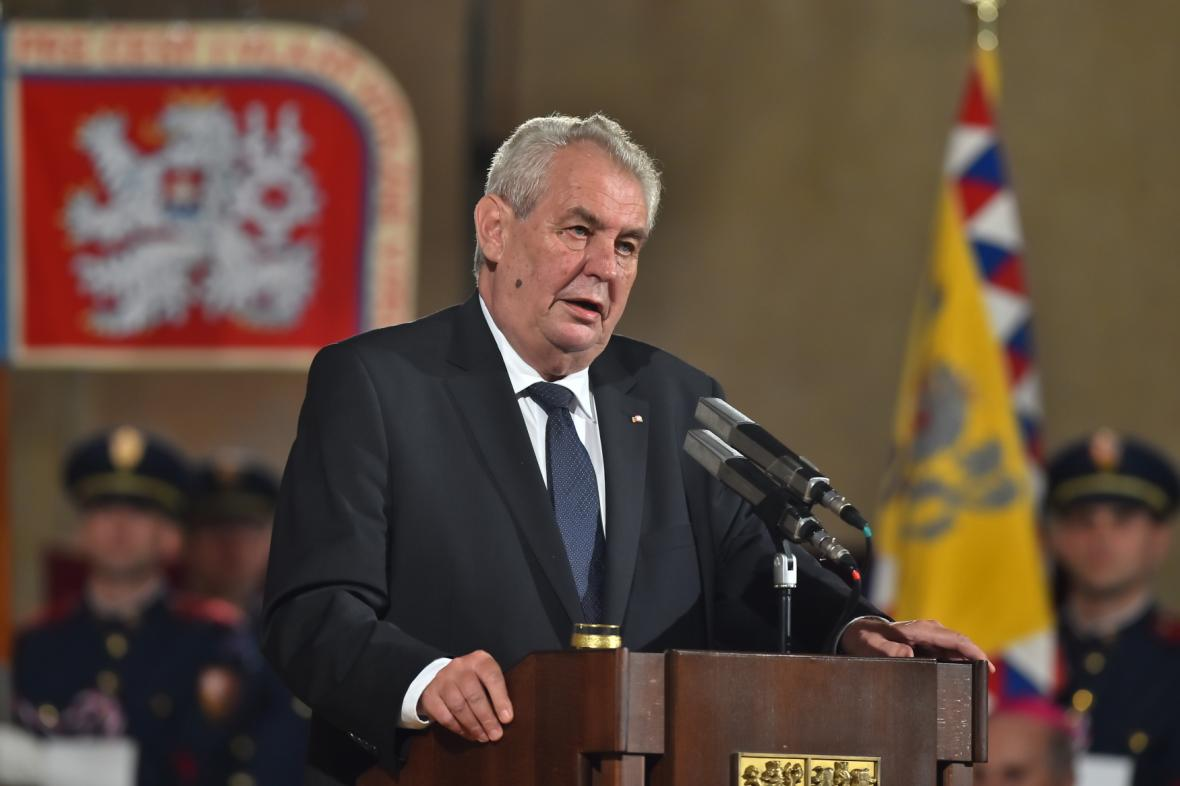 Miloše Zeman přednesl slavnostní projev při příležitosti udělení státních vyznamenání