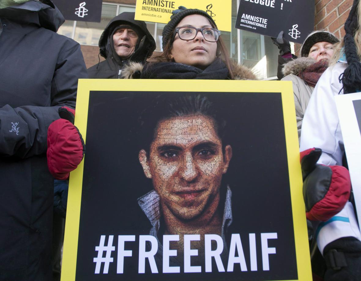 Demonstrace na podporu Raífa Badávího