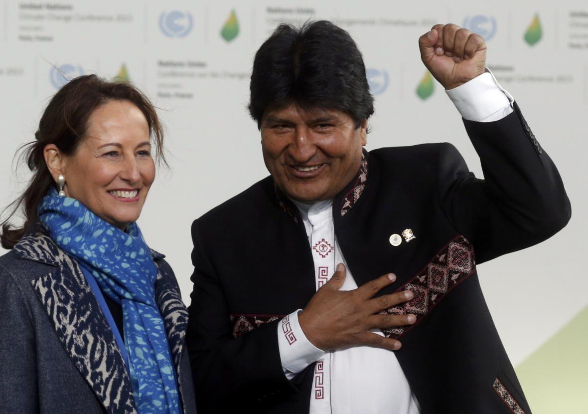 Ministryně životního prostředí Segolene Royalová a Evo Morales
