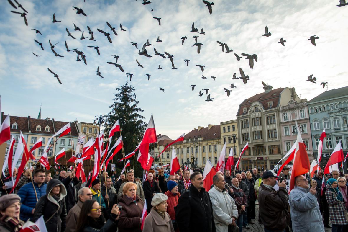 Demonstrace příznivců nové konzervativní vlády