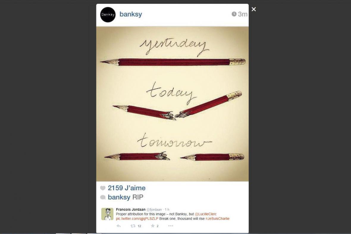 Karikatury a kresby sdílené na sociálních sítích po útocích na redakci Charlie Hebdo v lednu 2015