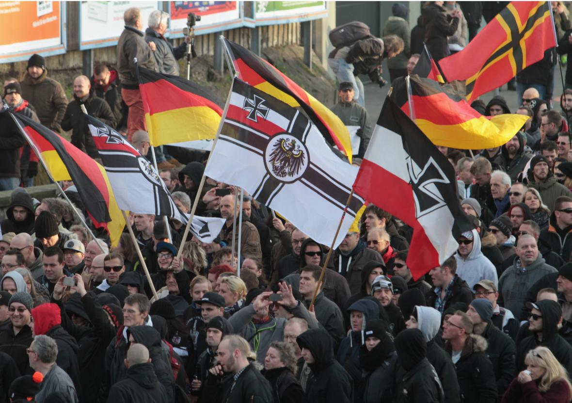 Protest proti migrantům v Kolíně nad Rýnem