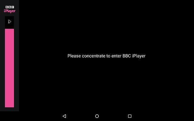 BBC iPlayer čeká, až uživatel zaměří koncentraci, aby se aplikace mohla spustit