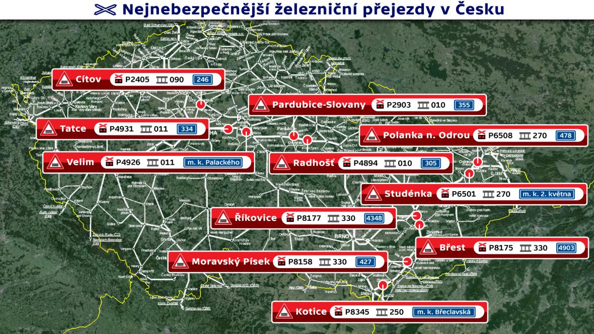 Nejnebezpečnější železniční přejezdy v ČR