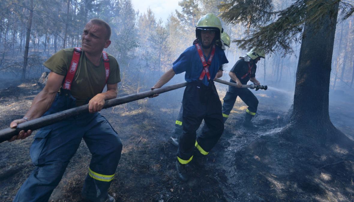 Hašení lesního požáru na Rokycansku