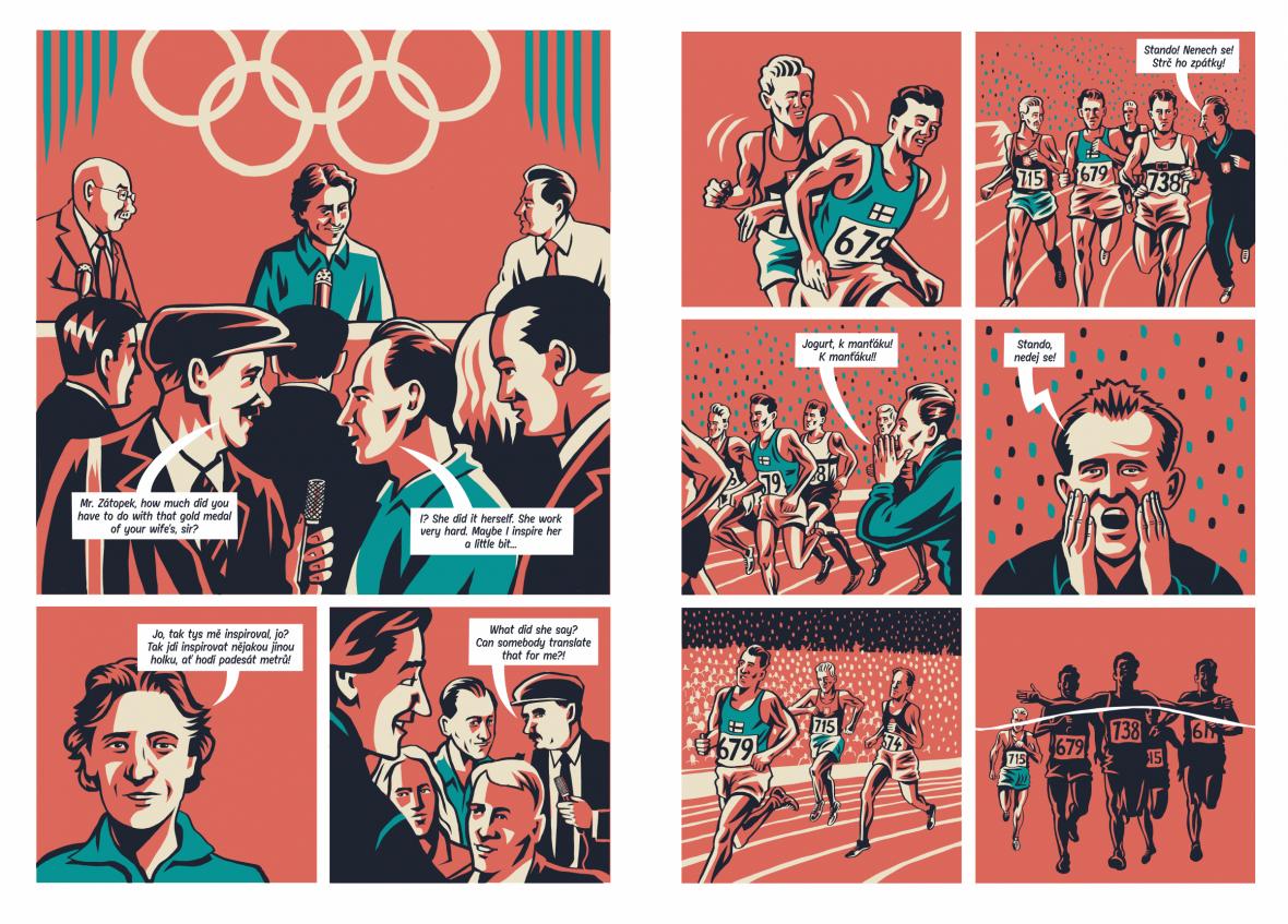 Emil Zátopek v komiksu od Jaromíra Švejdíka