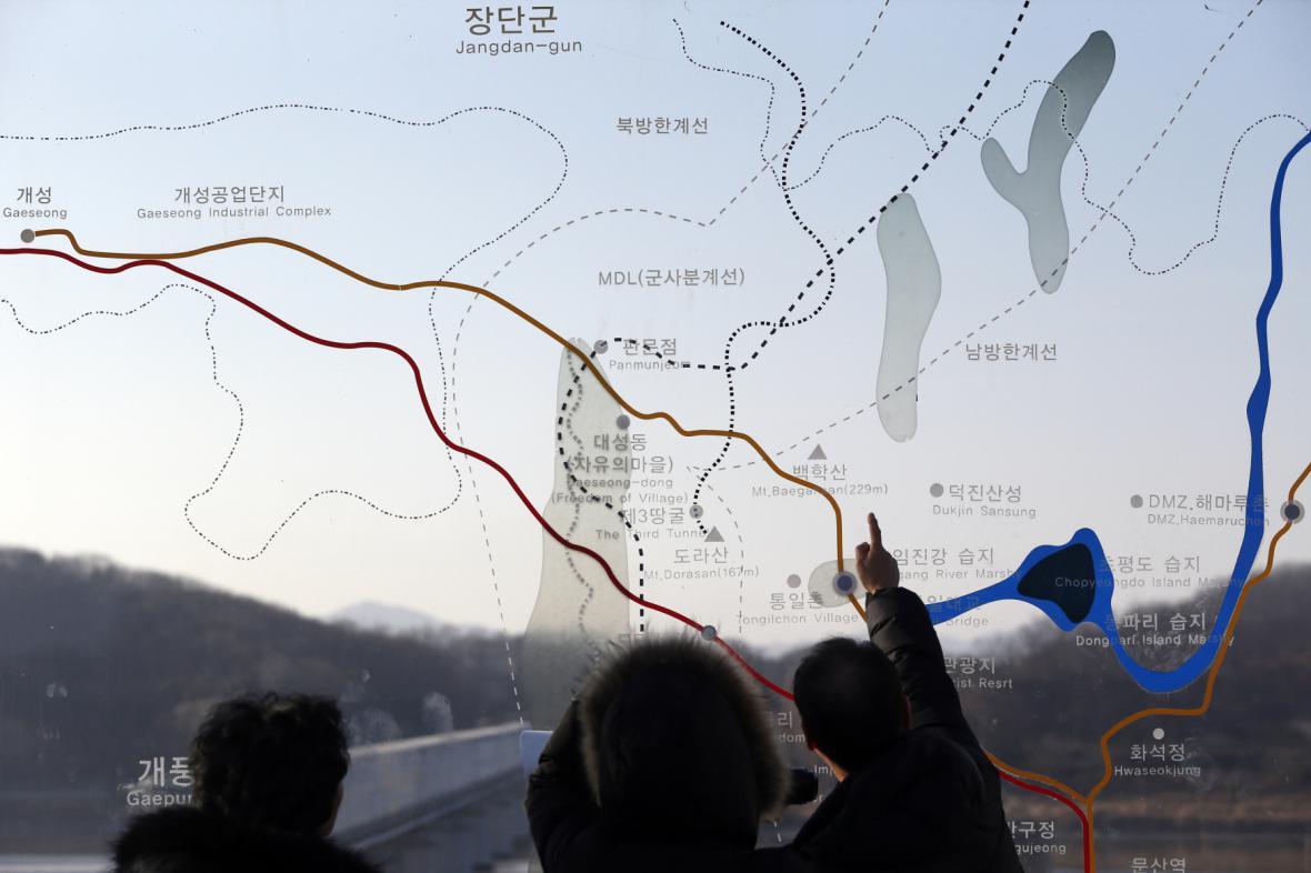 Mapa hranic mezi Severní a Jižní koreou