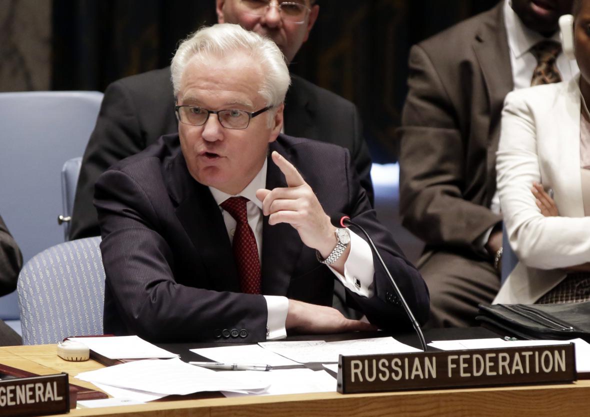 Vitalij Čurkin během jednání Rady bezpečnosti
