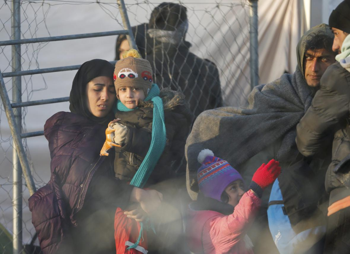 Afghánští migranti na řecko-makedonské hranici