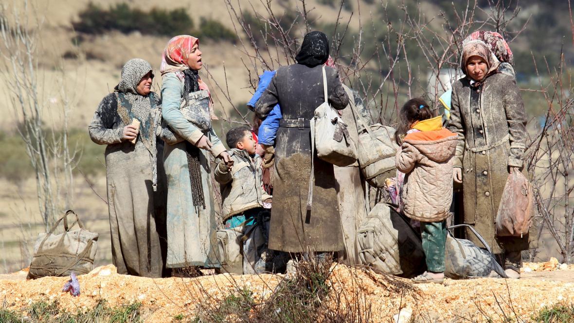 Uprchlíci na turecko-syrské hranici