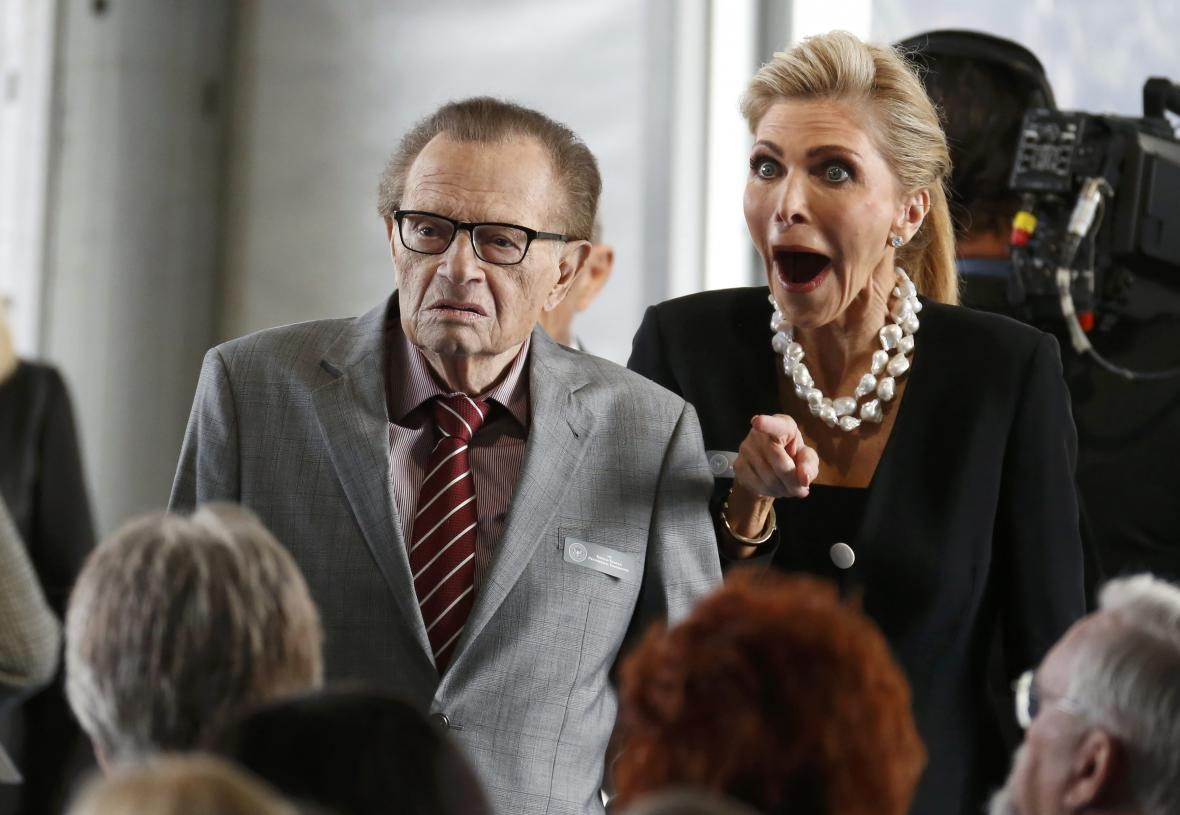 Larry King na pohřbu Nancy Reaganové