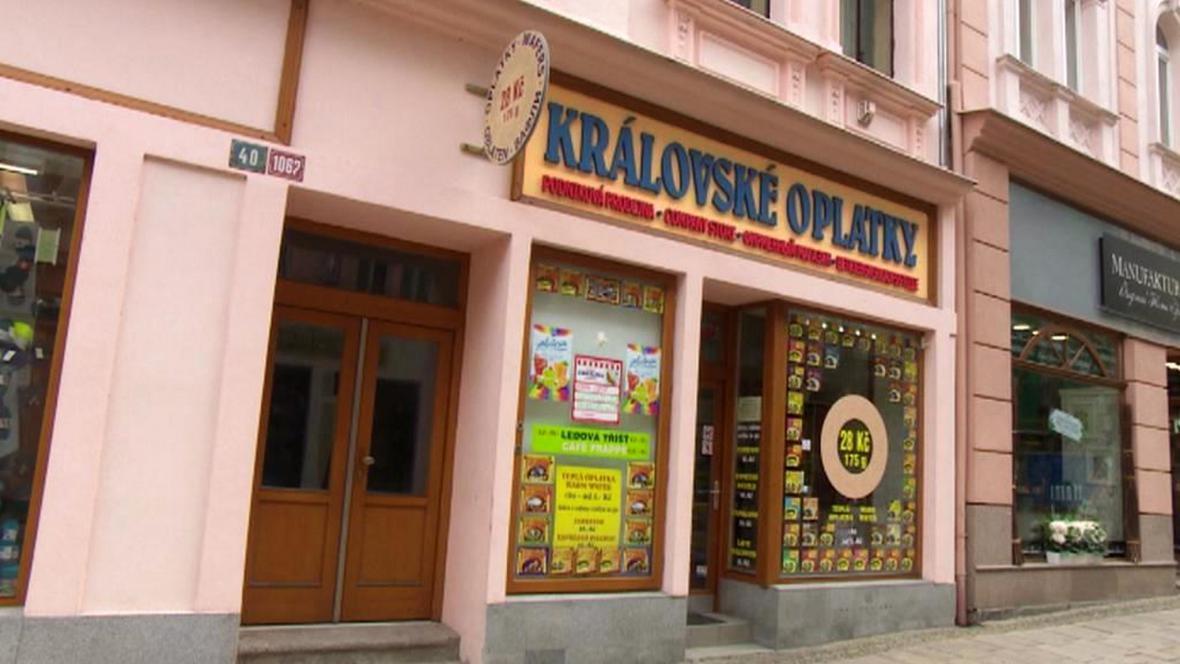 Prodejna Královských oplatek v Karlových Varech