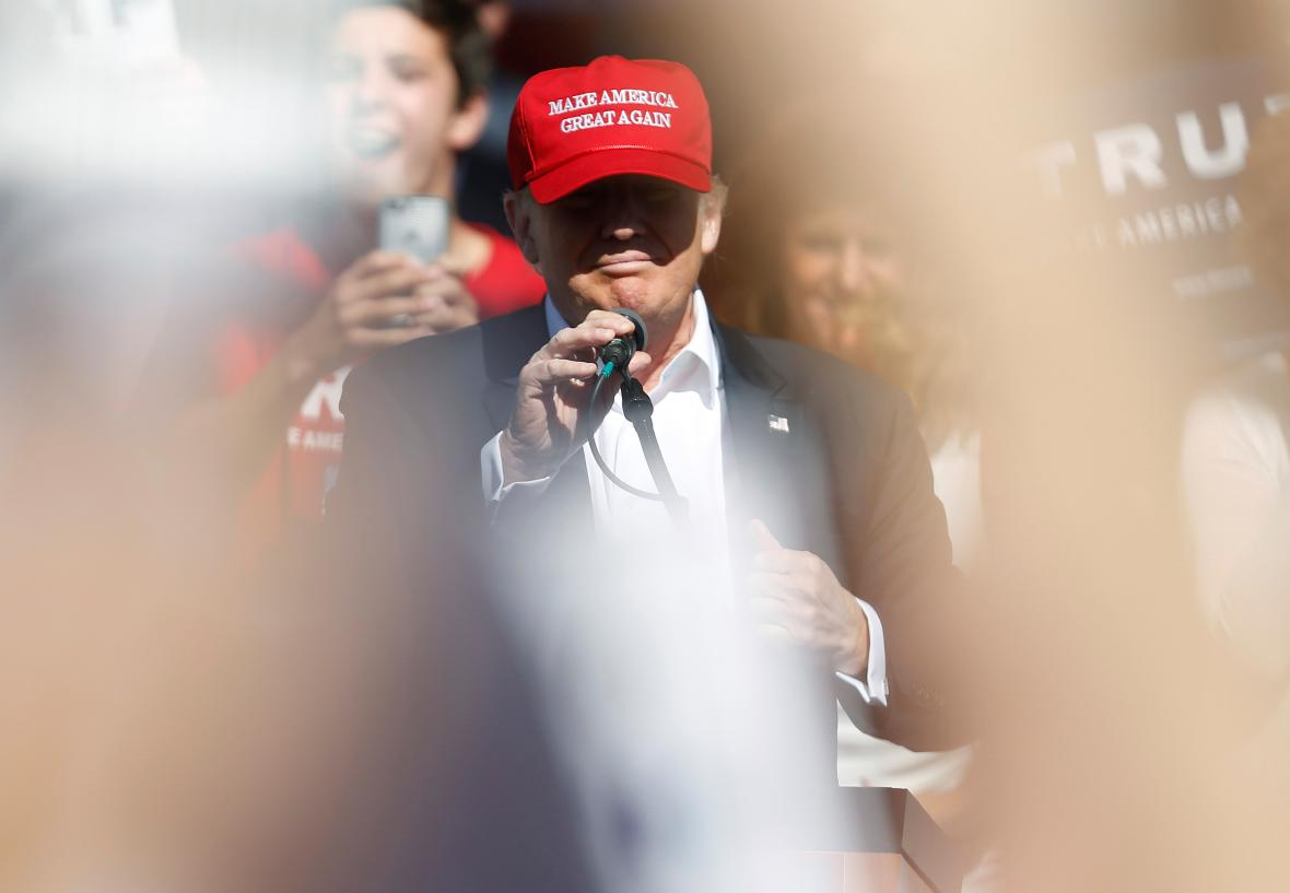 Donald Trump během projevu v Lyndenu