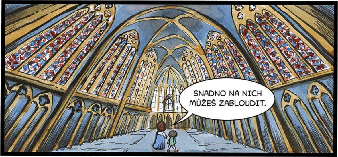 Snímky z komiksu KIV. Boží král