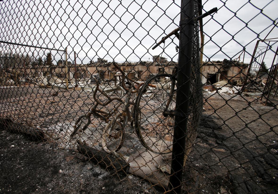 Následky požáru v Albertě