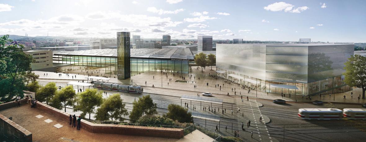 Dva vítězné návrhy nádraží v centru pod Petrovem