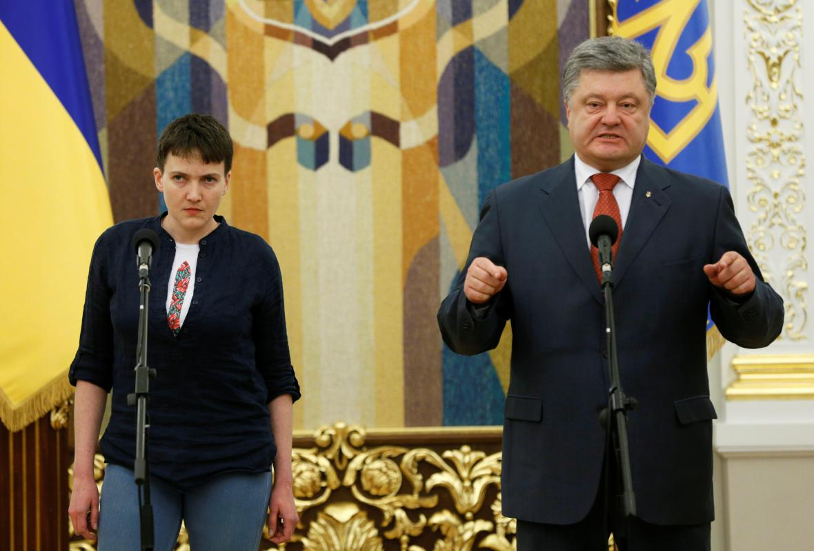 Projev prezidenta Porošenka a Naděždy Savčenkové