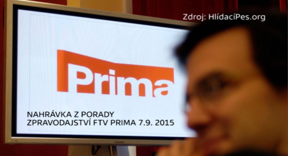 Nahrávka z porady zpravodajství FTV Prima 7.9. 2015