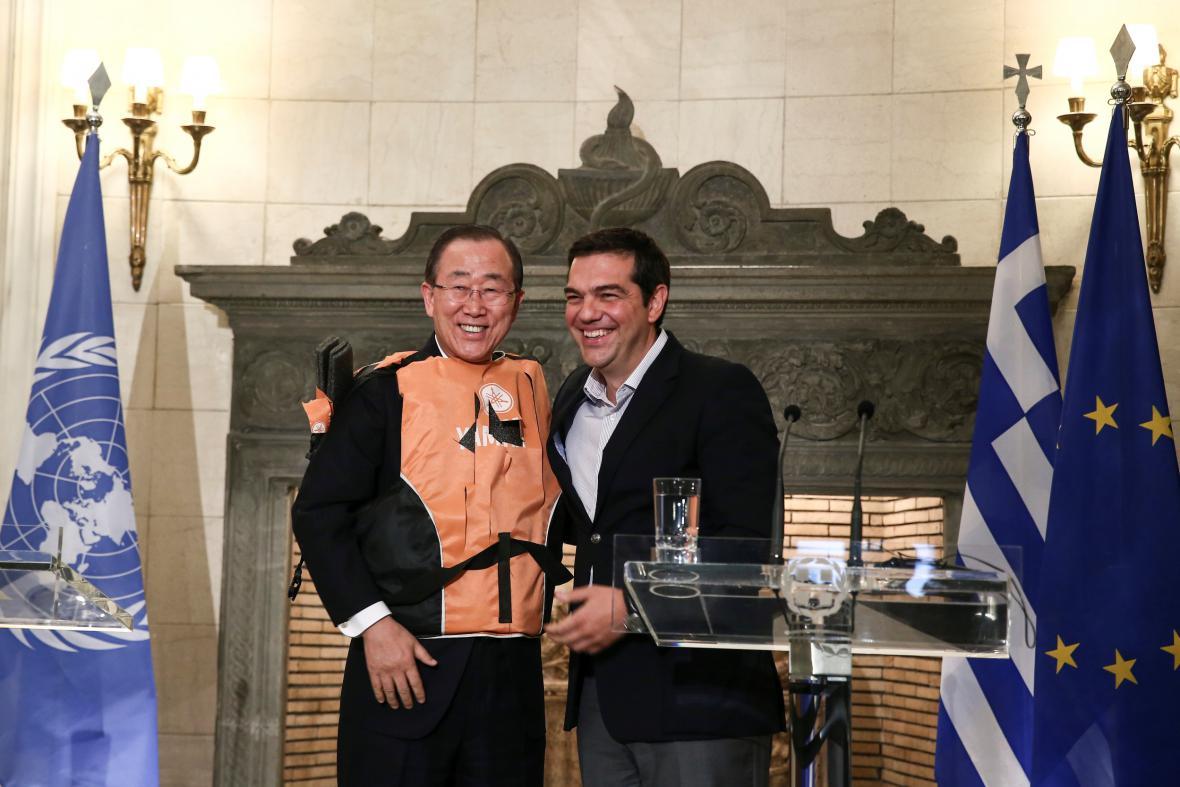 Pan Ki-mun a řecký premiér Alexis Tsipras