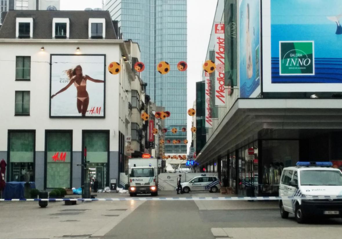 Uzavřená oblast u nákupního centra City2 v Bruselu