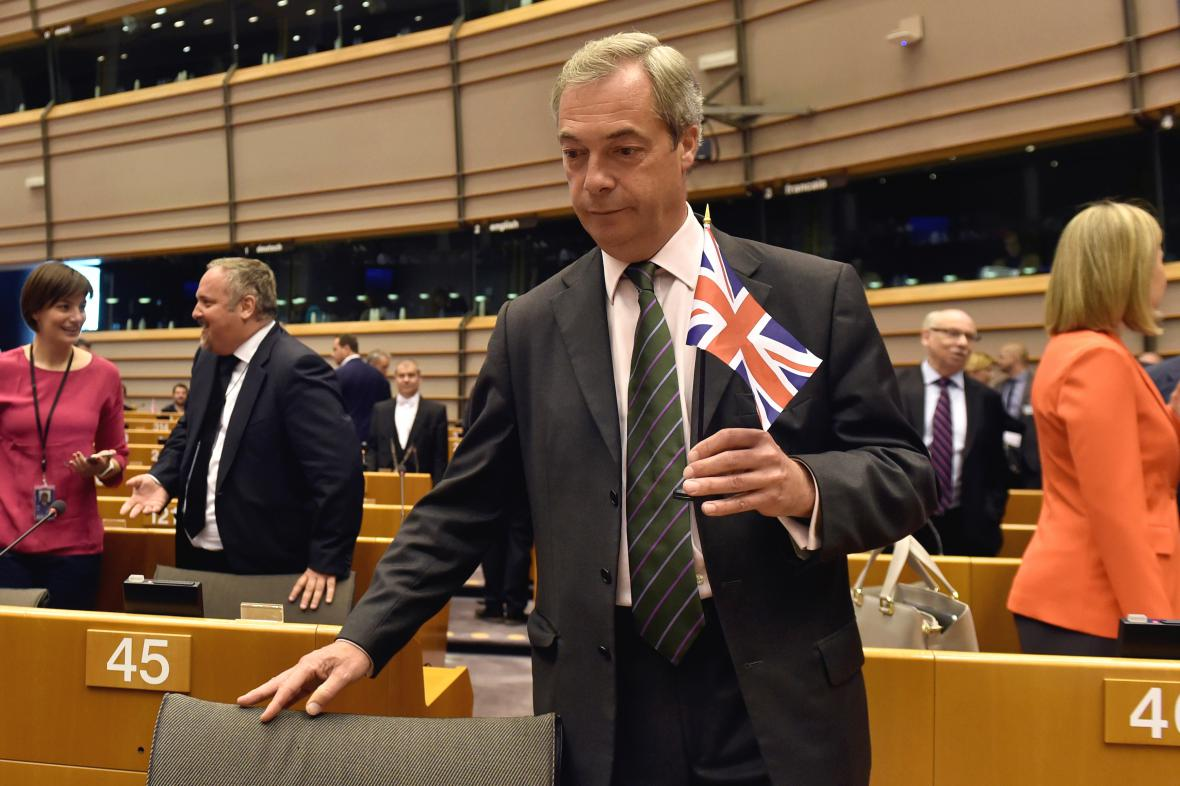 Nigel Farage na zasedání europarlamentu