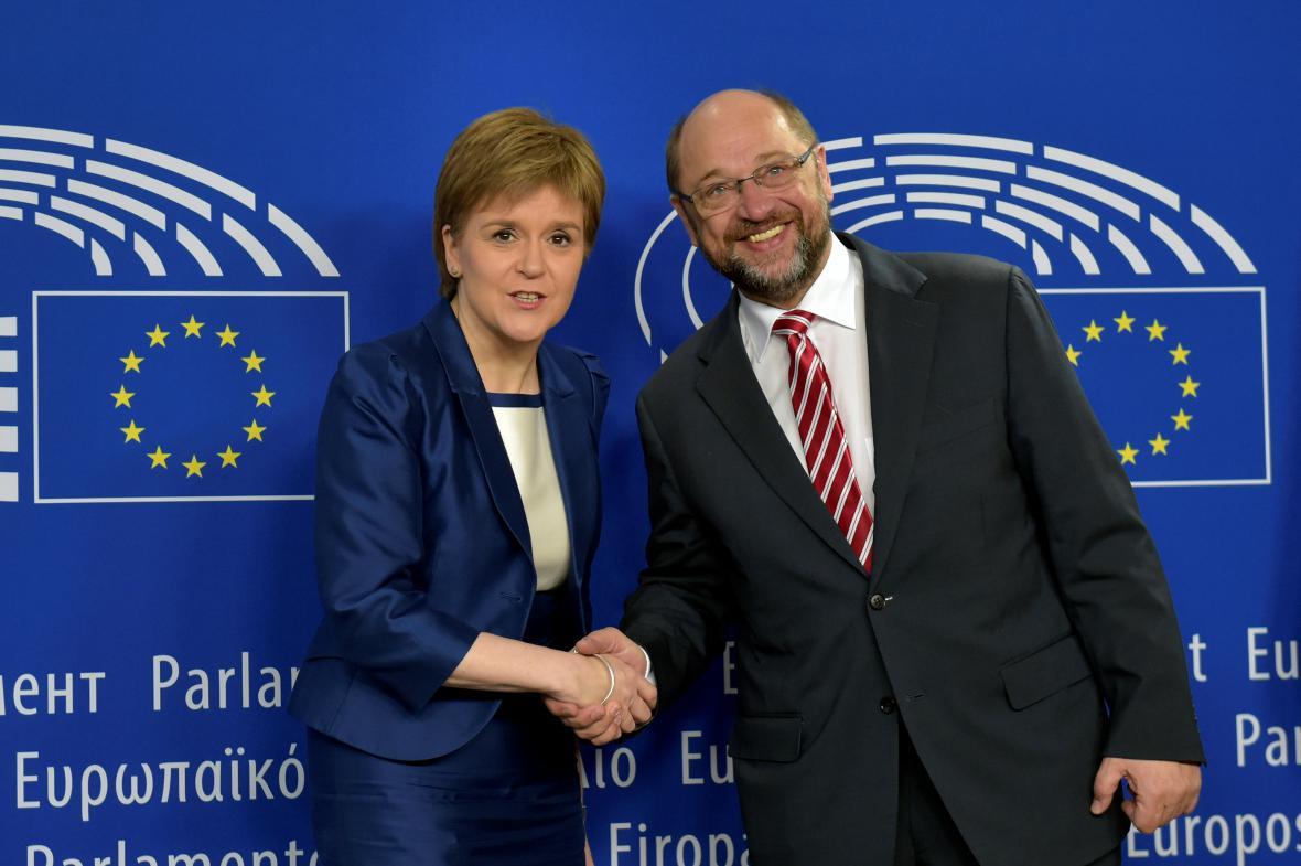 Nicola Sturgeonová s předsedou EP Martinem Schulzem