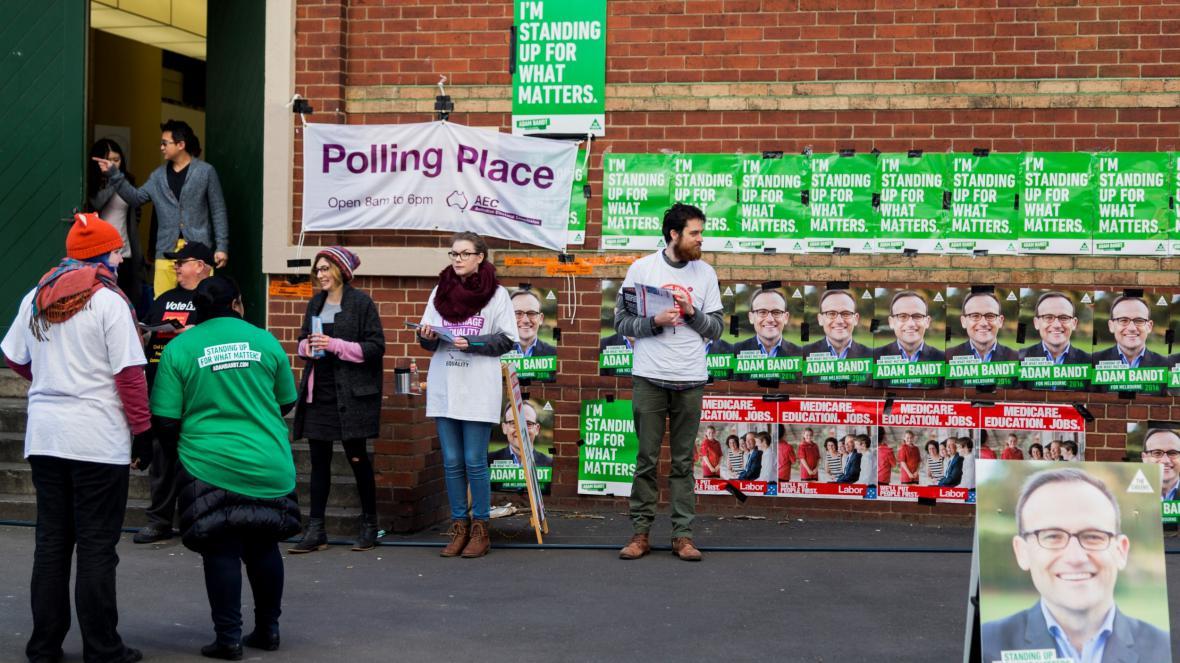 Volební místnost v australském Melbourne