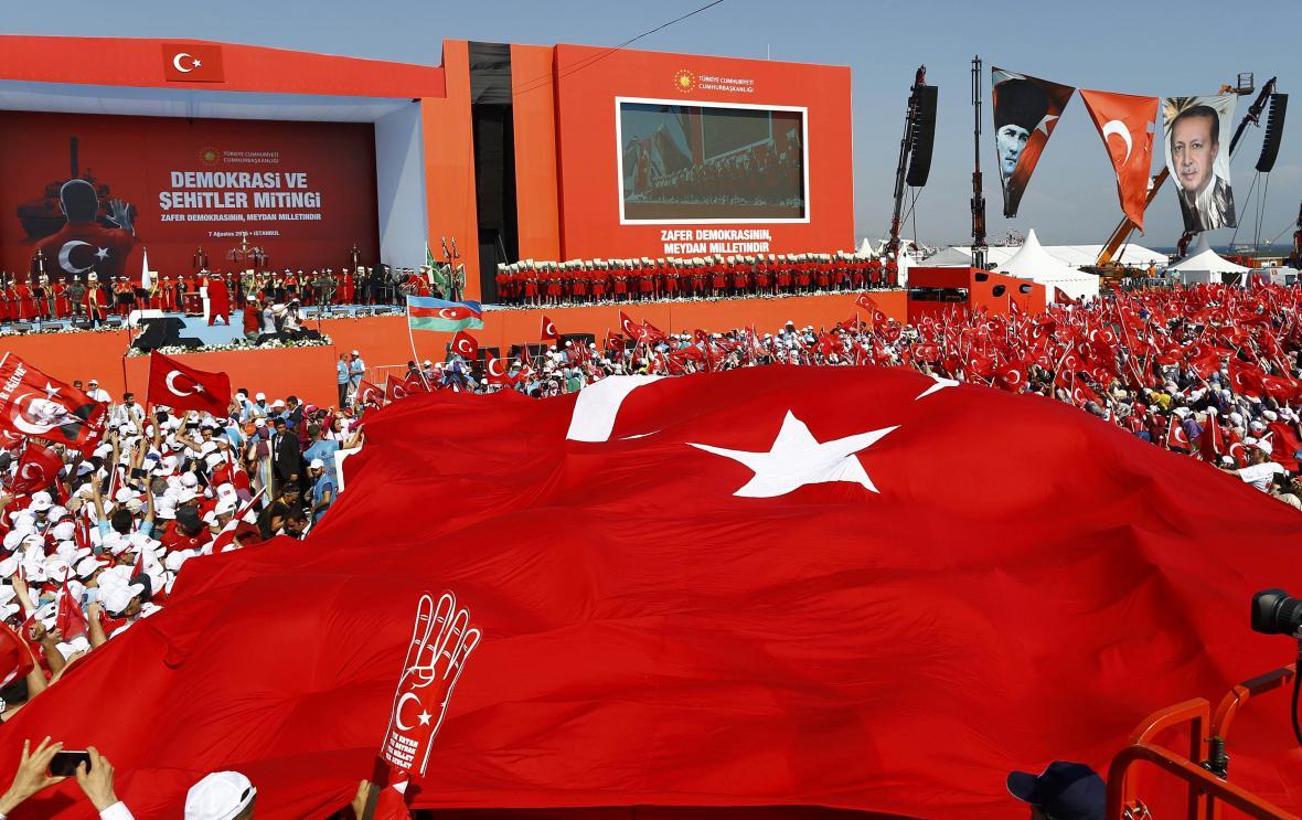 Demonstrace na podporu Erdogana