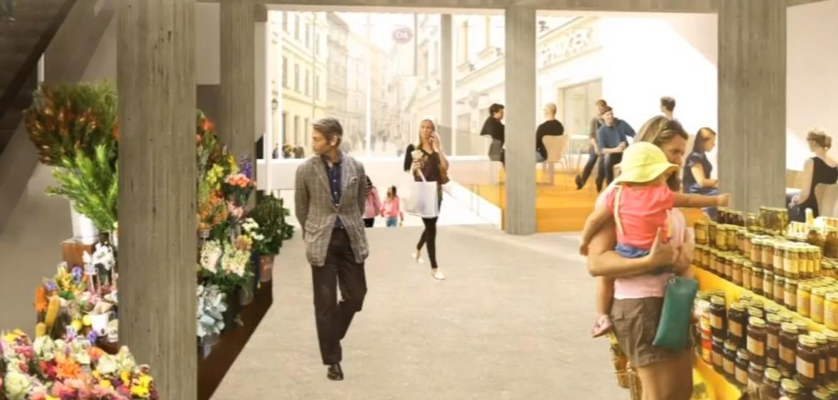 Vizualizace budoucí podoby kryté tržnice na Zelném trhu