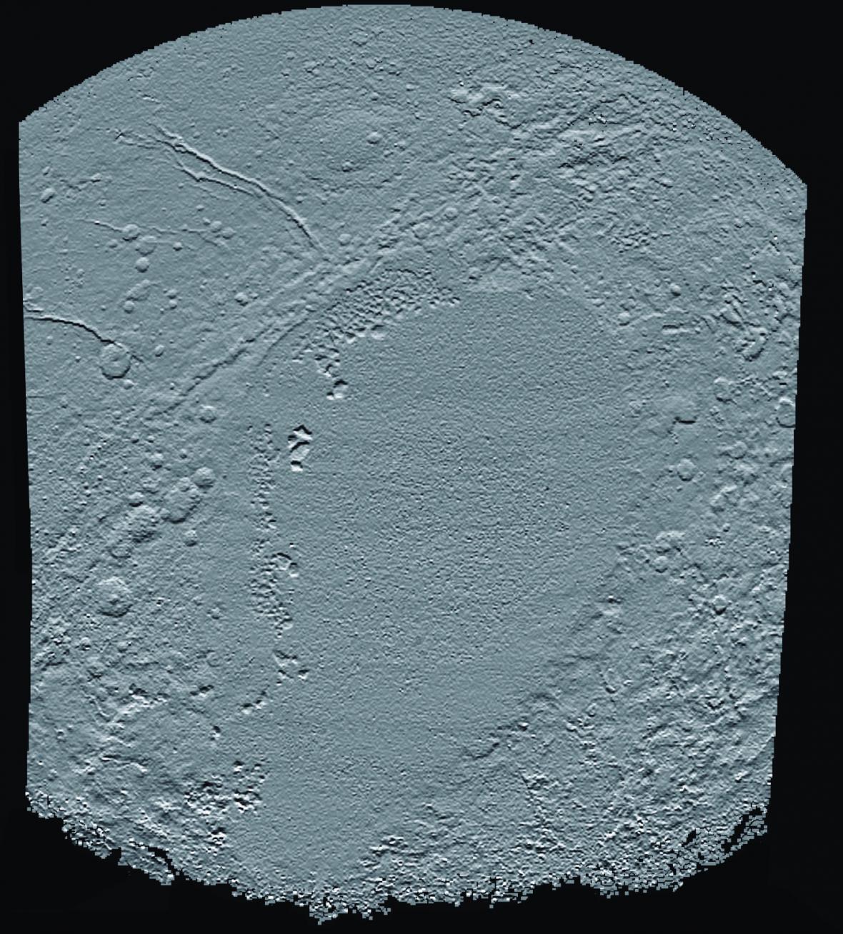 Fotografie ukazující výškový reliéf oblasti nazývané Sunken Heart na Plutu