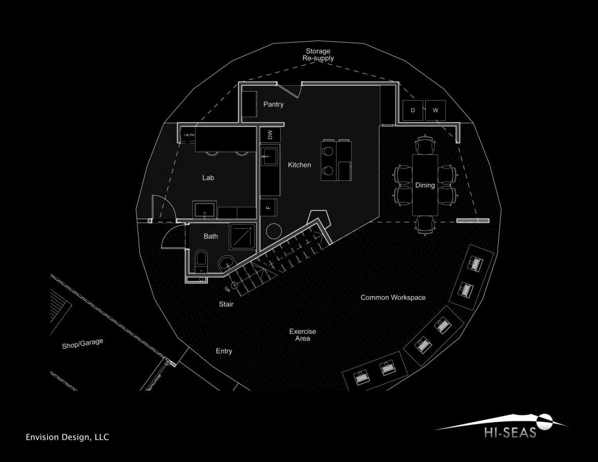 Vnitřní struktura habitatu HI-SEAS