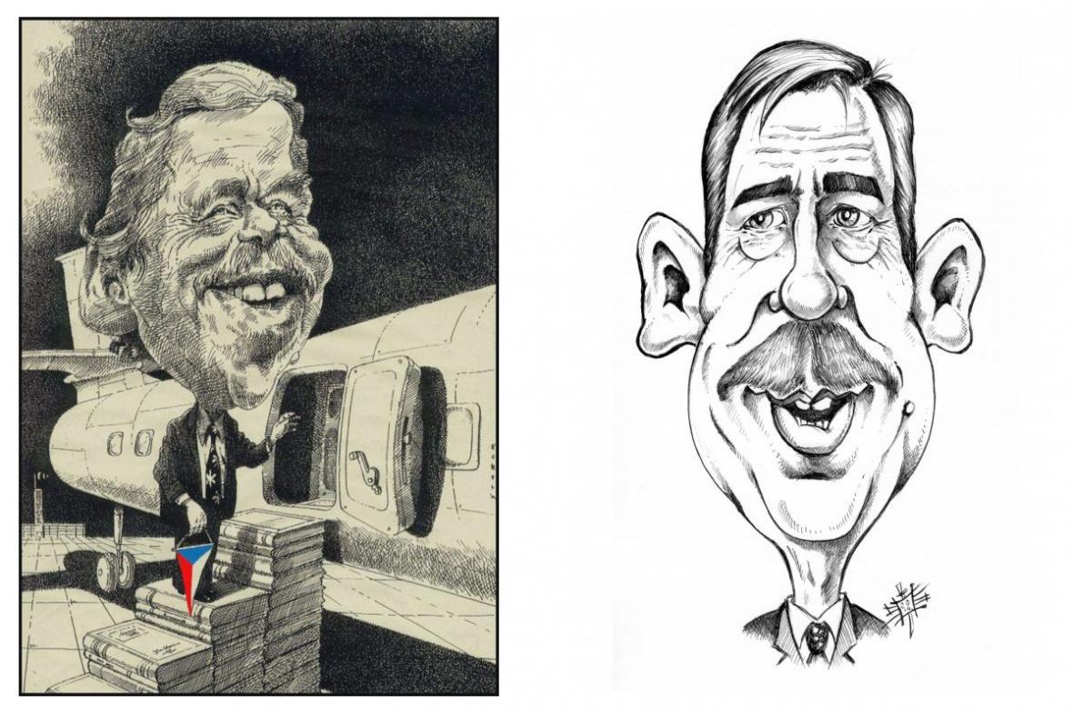 Z výstavy karikatur: Svět kreslí Havla