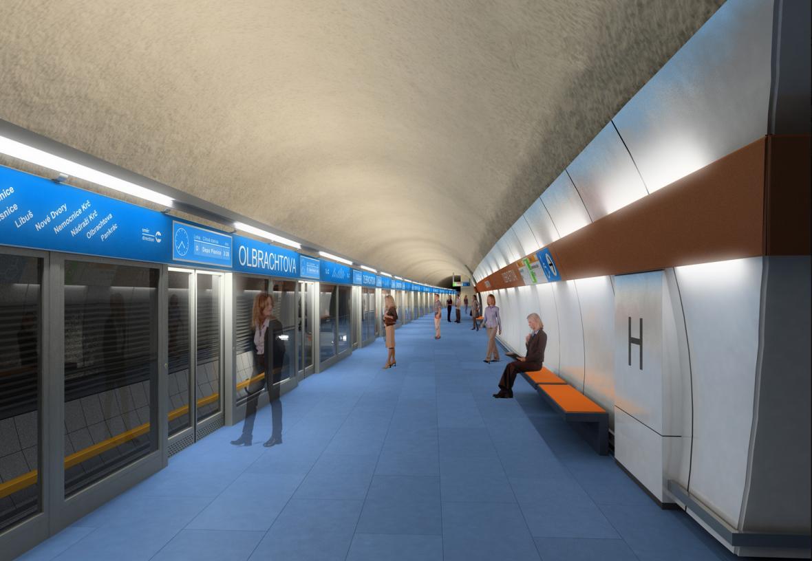 Vizualizace metra D podle společnosti Metroprojekt