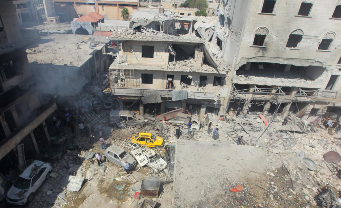 Město Idlib po náletu