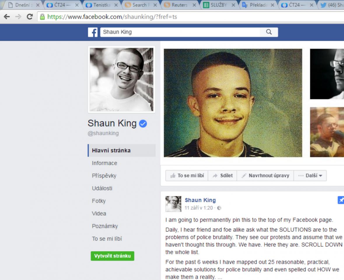 Facebookový profil Shauna Kinga