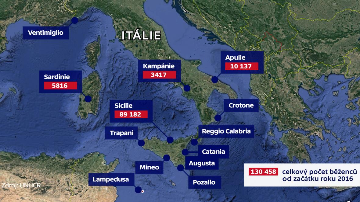 """Hlavní """"záchytná"""" místa migrantů ve Středomoří"""