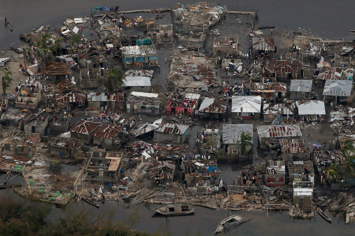 Část Haiti po přechodu hurikánu Matthew