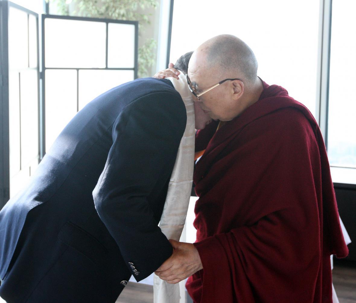 Setkání tibetského dalajlamy se slovenským prezidentem Andrejem Kiskou